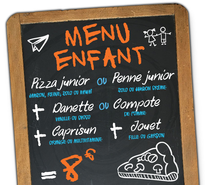 menu enfant pizzeria